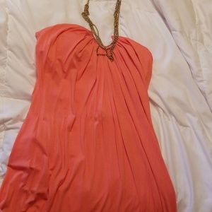 Size Med. Coral sundress with built in necklace.